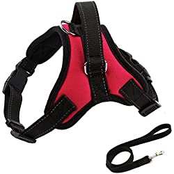 Dog Harness Leash Pets Vest with Handle No Pull Reflective Retractable for Training (L, Rose-Red)