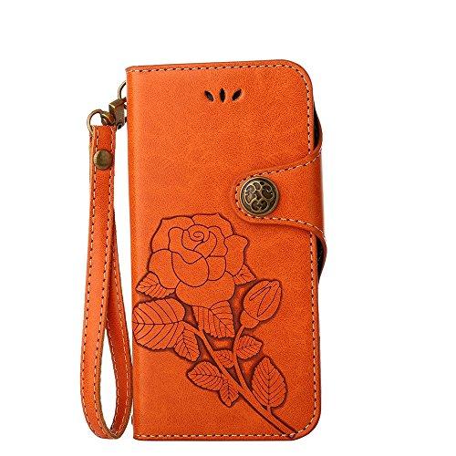 YHUISEN Huawei P10 caso, de lujo retro rosa Premium PU cuero magnético cierre de la cartera de la cartera de la caja protectora con cordón para Huawei P10 ( Color : Orange ) Orange