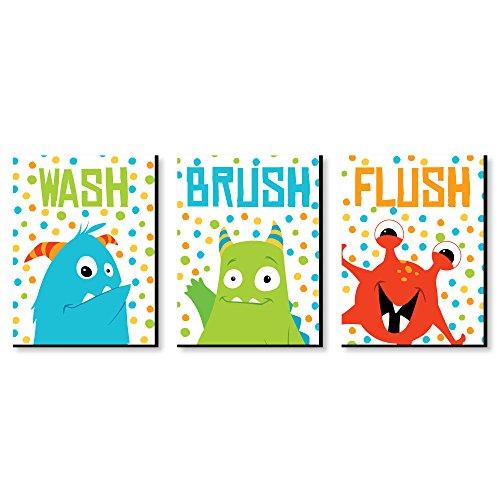 """Brush Lightweight Monster (Monster Bash - Kids Bathroom Rules Wall Art - 7.5"""" x 10"""" - Set of 3 Signs - Wash, Brush, Flush)"""