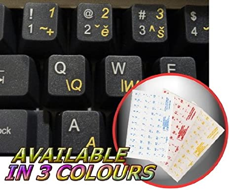 CZECH KEYBOARD DECALS ON TRANSPARENT BACKGROUND WITH BLUE RED OR YELLOW LETTERING Yellow
