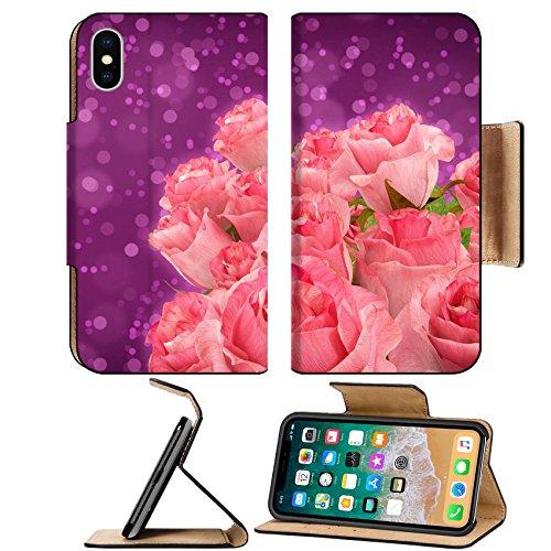 MSD Premium Apple iPhone X Flip Pu Leather Wallet Case Arrangment of roses over purple bokeh background IMAGE 35379425
