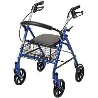 Rollator de cuatro ruedas Walker de Drive Medical con respaldo plegable extraíble