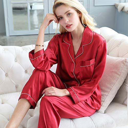 Mifusanahorn Otoño Para Invierno 100 Pijamas De Seda Mujer Dormir White 7qW7SUPwZ