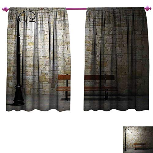 Street Waterproof Window Curtain Modern Avenue at Dark Night with a Open Lamp and Bench and Stone Wall Behind Image Decorative Curtains for Living Room W96 x L72 Multicolor