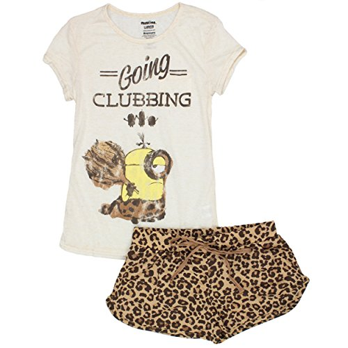 Despicable Me Minions Juniors Womens Shorts Pajamas Set (Medium, Clubbing - Me Despicable Outfit