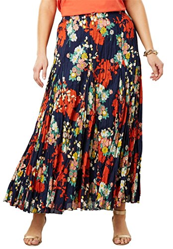's Plus Size Cotton Crinkled Maxi Skirt - Navy Shadow Floral, 14 ()