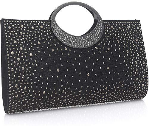 Dexmay Shiny Evening Bag for Wedding Party Elegant Crystal Rhinestone Clutch Purse Black