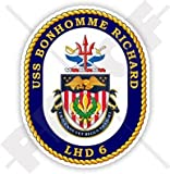 "USS Bonhomme Richard LHD-6 Badge, US NAVY Amphibious Assault Ship, USA American 3,7"" (95mm) Vinyl Sticker, Decal"