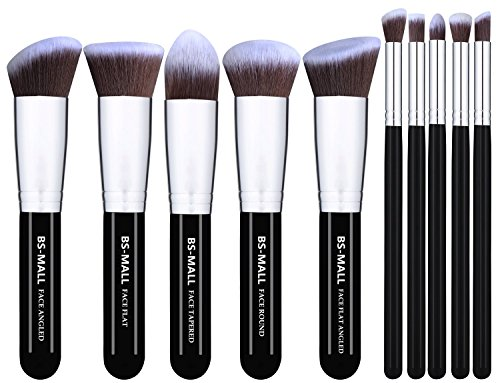 Set Face Powder (BS-MALL(TM) Makeup Brushes Premium Makeup Brush Set Synthetic Kabuki Makeup Brush Set Cosmetics Foundation Blending Blush Eyeliner Face Powder Lip Brush Makeup Brush Kit(10pcs, Silver)