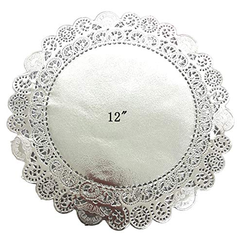 PEPPERLONELY 25 PC Silver Classic Metallic Doilies, 12 -