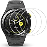 Screen Protector for Huawei Watch 2, AFUNTA 3 Pack Tempered Glass Films Shield Anti-Scratch High Definition Cover for Smartwatch
