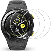 Screen Protector for Huawei Watch 2, AFUNTA 3 Pack Tempered Glass Protective Films Anti-Scratch High Definition Cover for Smartwatch