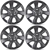 BDK Toyota Camry 2006-2014 Style Hubcap Wheel Cover, 16'' Silver Replica Cover, OEM Factory Replacement (4 Pieces) (Matte Black)