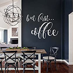 """BATTOO But First Coffee Wall Decal - Kitchen Vinyl Lettering - Kitchen Wall Art - Home Wall Decals - Wall Decor for the Home or Office(white, 16""""WX13""""H)"""