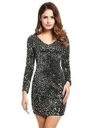 Meaneor Women's Sequin V-Neck Long Sleeve Bodycon Sheath Dress