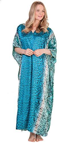 Winlar Satin Kaftan - Satin Charmeuse Caftan Loungers In Ocean Cheetah (One Size Fits Most, Turquoise/Black) (Dress Kimono Charmeuse)