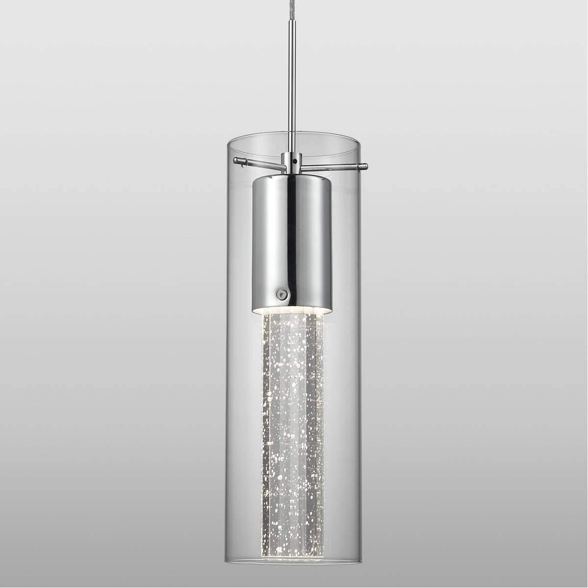 Kuzco Lighting PD4401-CH Single Led Pendant with Encased Crystal Bubbles in Glass Shade On Chrome Canopy