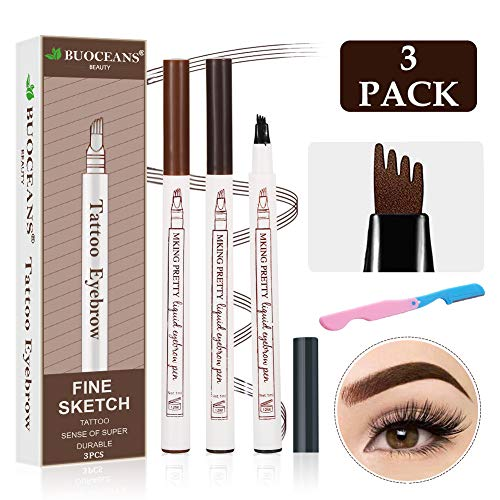 Tattoo Eyebrow, Liquid Eyebrow Pencil, The Perfect Eyebrows With a Micro-Fork Tip Applicator Creates Natural Looking Brows Effortlessly and Stays on All Day, 3PCS