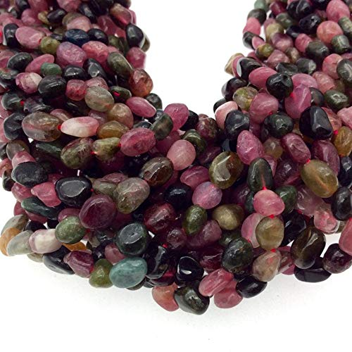 """4-5mm x 5-8mm Smooth Mixed Tourmaline Pebble/Nugget Beads - 15 Strand (~ 70 Beads) - Natural Semi-Precious Gemstone - Sold by Strands"""" - Huge Selection of Beading Accessories"""