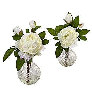 "Nearly Natural 4576-S2 11"" Peony with Vase (Set of 2), 2 Piece 54"