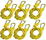 Bungee Cord with Carabiners Super Long 60'' | 6 Pack UV Treated with Superior Latex Core which Lasts Longer than Flat Bungees | Strong Wide Mouth Hook Locks onto Anchor Points with Ease (Yellow)