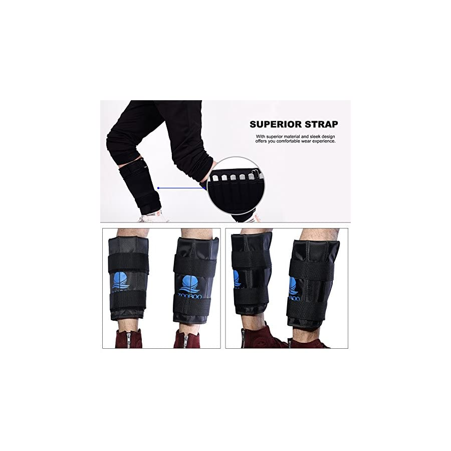 RUNACC Zooboo Ankle Weights Adjustable Leg Weights Bands, Suitable for Walking, Jogging, Gymnastics and Aerobics, Black