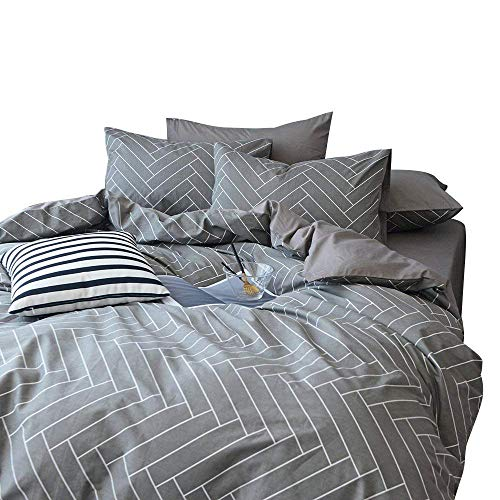(XUKEJU 3 Piece Queen Duvet Cover Set 100% Cotton Duvet Cover with 2 Pillow Shams Checkered Pattern Design (Chevron, King))