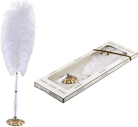 Vintage Ostrich Feather Quill Signing Pen with Metal Holder Wedding Pen S