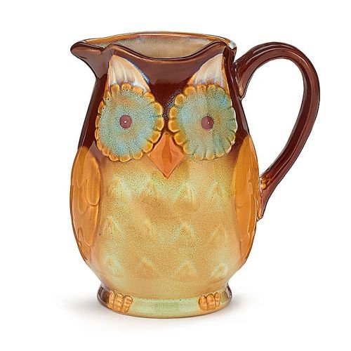Whimsical Porcelain Owl Water/Tea Pitcher (Porcelain Birds Whimsical)