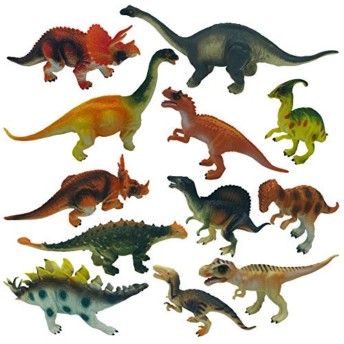 Hoovy Dinosaur Figures Set | Toddler Toys | Fun & Educational Games for Children | Small Party Favors for Kids | Best Birthday & Christmas Gifts for Boys & Girls (Pack of 12 (Hard) 7