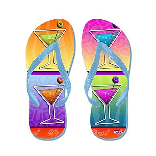CafePress - Martinis Pop Art - Flip Flops, Funny Thong Sandals, Beach Sandals Caribbean Blue