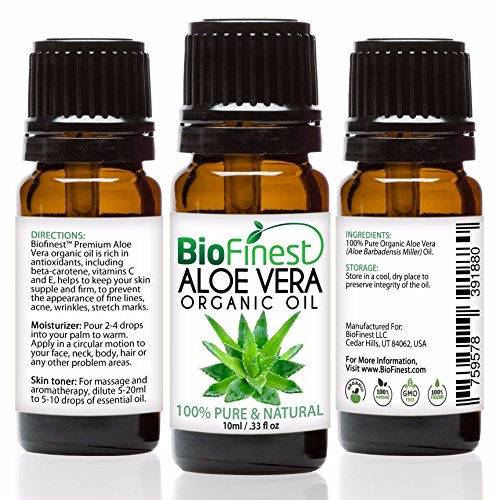 Biofinest Aloe Vera Organic Oil - 100% Pure, Natural, Cold-Pressed - Premium Quality - Best Moisturizer For Hair, Face & Skin - Boost Wound Recovery - FREE E-Book - Usa Cap Euro So
