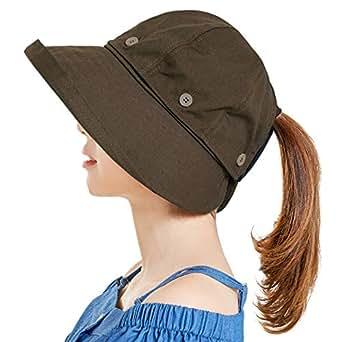 Muryobao Women Reversible Sun Hat UV Protection Wide Brim Floppy Summer Visor Ponycaps - Brown - One Size