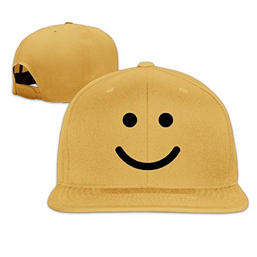 Happy Face Cap (Happy Smiley Face Hip Hop Flat Brim Cap Men Womens Baseball Hat Funny Team Adjustable Snapback Cool Plain Trucker Hats For Dance,Neo-Jazz,Street Jazz,Reggea)