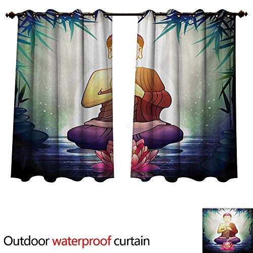 rden 0utdoor Curtains for Patio Waterproof Asian Religious Character Meditating in Calm Place with Lotus Flower and Leaves W72 x L72(183cm x 183cm) ()