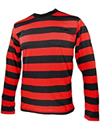 Long Sleeve Striped Men's Shirt Black and Red