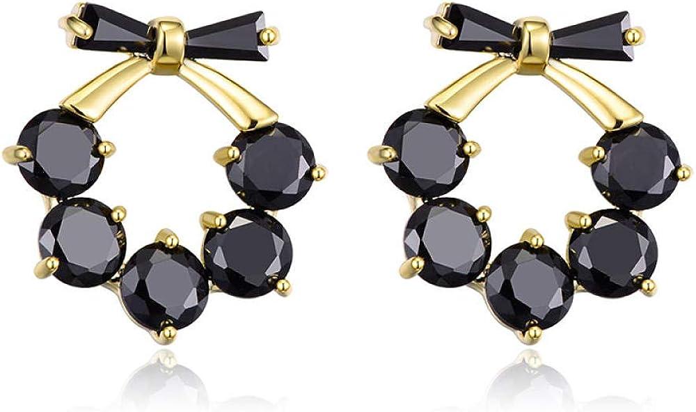 Jyuter12 Black Bow Knot Earrings Pendientes De Oro Puro Para Mujer