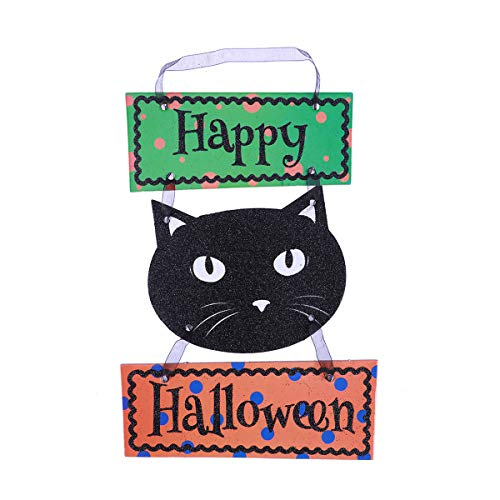 BESTONZON Black Cat Happiness Trick or Treat - Outdoor Halloween Decorations - Happy Halloween Door Decorations and Wall Signs(7)