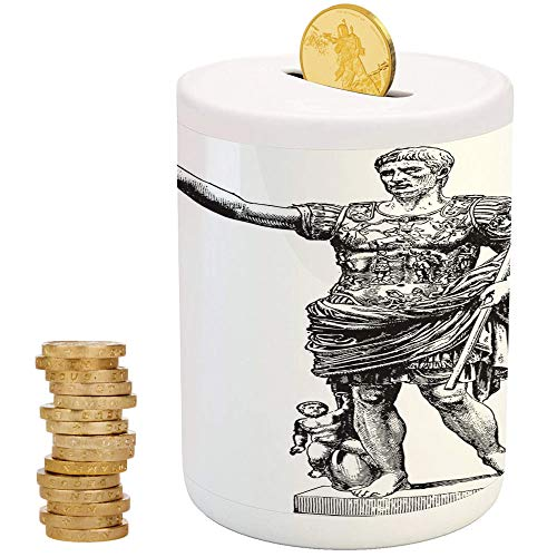 iPrint Toga Party,Money Bank for Kids,for Party Decor Girls Kid's Children Adults Birthday Gifts,Antique Statue of Augustus Vintage Ancient Historical King Emperor Figure Print ()