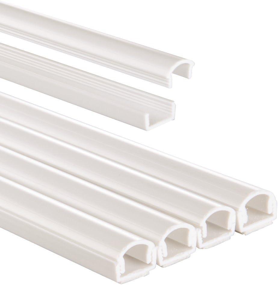 Hama 00020570 - Canal de PVC semicircular para cables, 100x1.1x1.0 cm, color blanco, 4 unidades