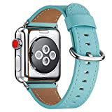 WFEAGL Compatible iWatch Band 38mm 40mm 42mm 44mm, Top Grain Leather Bands of Many Colors for iWatch Series 5,Series 4,Series 3,Series 2,Series 1 (Tiffany Blue+Silver Buckle,42mm 44mm)