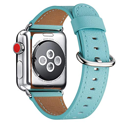 WFEAGL Compatible iWatch Band 38mm 40mm 42mm 44mm, Top Grain Leather Bands of Many Colors for iWatch Series 5,Series 4,Series 3,Series 2,Series 1 (Tiffany Blue Band+Silver Adapter,42mm 44mm)