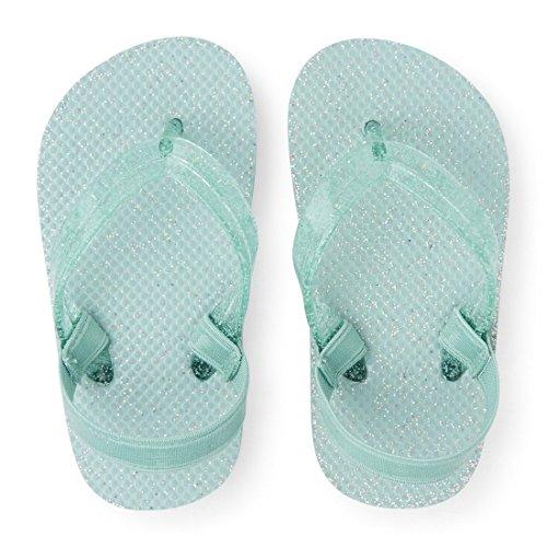 Large Product Image of The Children's Place Girls' Glitter Sandal Flip-Flop, Aqua, TDDLR10-11 Medium US Big Kid