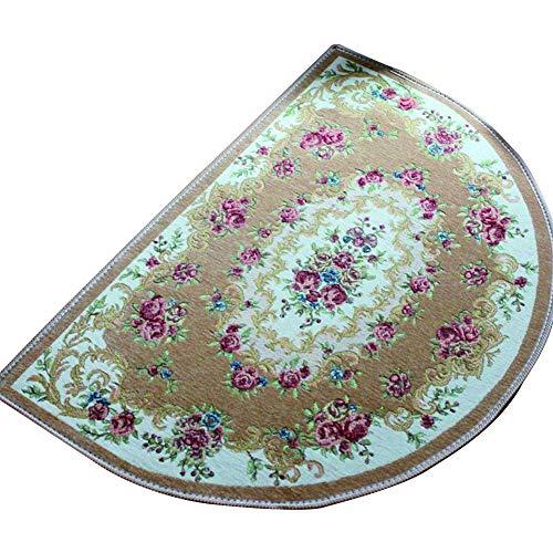 (Ozzptuu Polyester European Half Round Rose Jacquard Area Rug Non-Slip Entrance Bathroom Kitchen Door Mat Floor Carpet (Large, Camel))