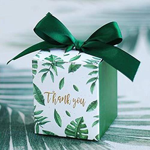 Xiaogongju 50Pcs European Creative Fresh Green Square Box Mori Wedding Gift Bag Candy Chocolate Box Wedding Party Gift Box A 6x6x7cm ()