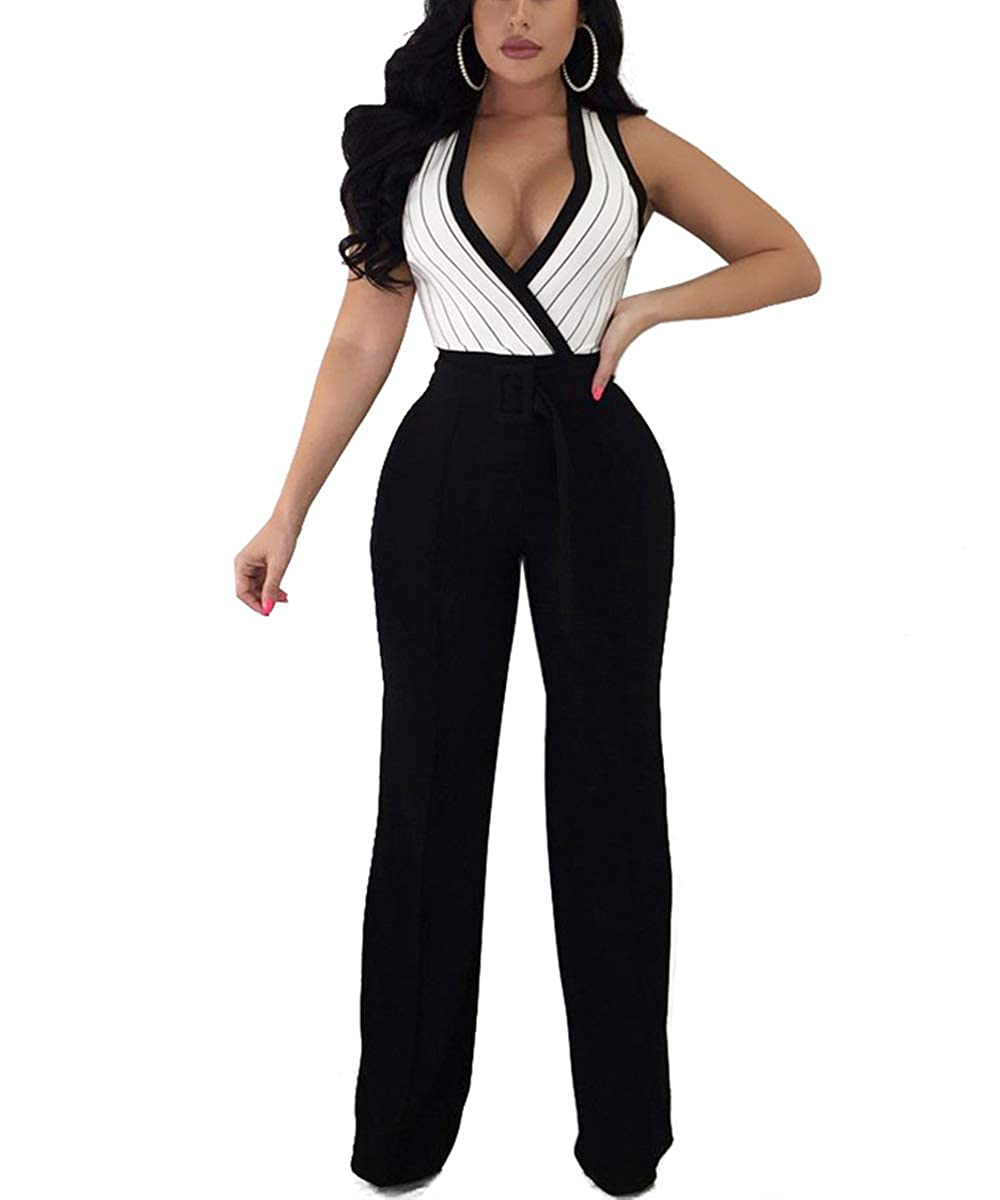 2c6808ad9ce Amazon.com  Dreamparis Women s Deep V Neck Wide Leg Jumpsuits Wrap Rompers  Belted  Clothing