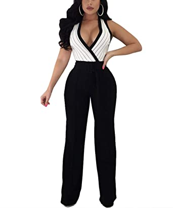 f8e992077fb Dreamparis Striped Wide Leg Jumpsuits for Women - Sexy Sleeveless Deep V  Neck Tie Waist Pants