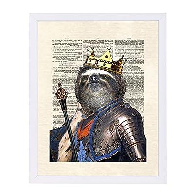 Americanflat White Frame Print-Sloth King-Matt Dinniman, 9&Quot; X 11&Quot;, 9&Quot; H X 11&Quot; W - Americanflat