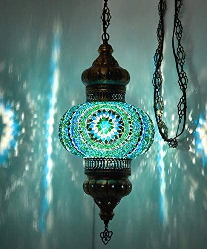 Choose from 12 Designs Turkish Moroccan Mosaic Glass Chandelier Lights Hanging Ceiling Lamps Large-5