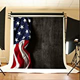 Maijoeyy 5x7ft Independence Day Photography Background Dark Black Wood Backdrops Flying American Flag Photocall for Veterans Day 276504761